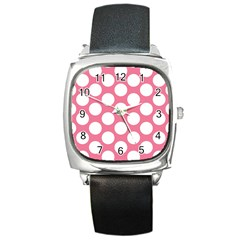 Pink Polkadot Square Leather Watch