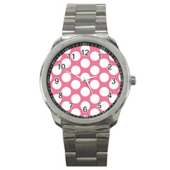 Pink Polkadot Sport Metal Watch