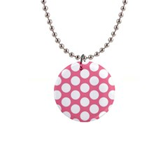 Pink Polkadot Button Necklace