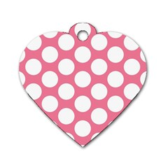 Pink Polkadot Dog Tag Heart (Two Sided)