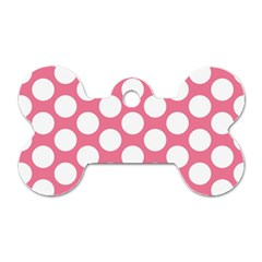 Pink Polkadot Dog Tag Bone (One Sided)