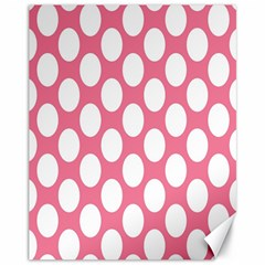 Pink Polkadot Canvas 11  X 14  (unframed)
