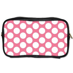 Pink Polkadot Travel Toiletry Bag (one Side)
