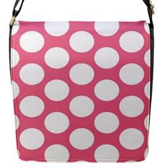 Pink Polkadot Flap Closure Messenger Bag (small)