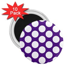 Purple Polkadot 2.25  Button Magnet (10 pack)
