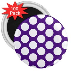 Purple Polkadot 3  Button Magnet (100 pack)