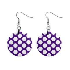 Purple Polkadot Mini Button Earrings