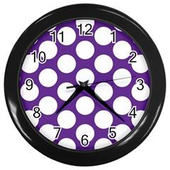 Purple Polkadot Wall Clock (Black)