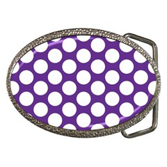 Purple Polkadot Belt Buckle (Oval)