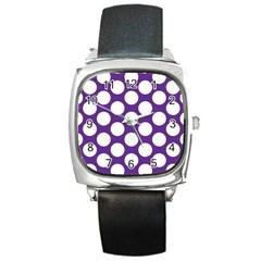 Purple Polkadot Square Leather Watch