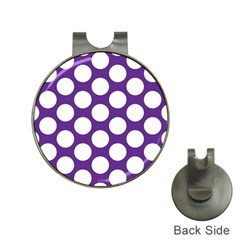 Purple Polkadot Hat Clip with Golf Ball Marker