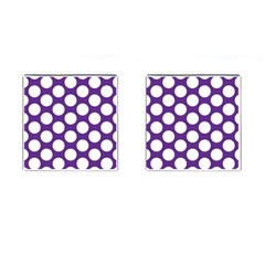 Purple Polkadot Cufflinks (Square)