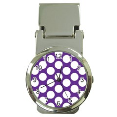 Purple Polkadot Money Clip With Watch