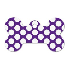 Purple Polkadot Dog Tag Bone (Two Sided)