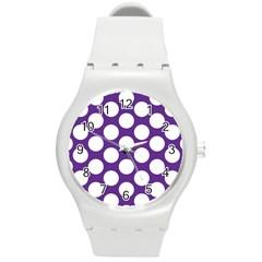 Purple Polkadot Plastic Sport Watch (Medium)
