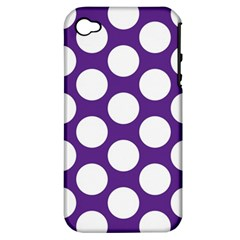 Purple Polkadot Apple iPhone 4/4S Hardshell Case (PC+Silicone)