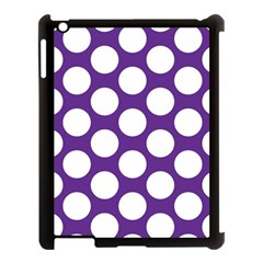 Purple Polkadot Apple iPad 3/4 Case (Black)
