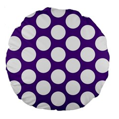 Purple Polkadot 18  Premium Round Cushion