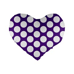 Purple Polkadot 16  Premium Heart Shape Cushion