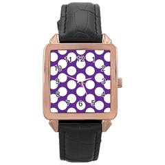 Purple Polkadot Rose Gold Leather Watch