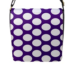 Purple Polkadot Flap Closure Messenger Bag (Large)