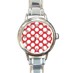 Red Polkadot Round Italian Charm Watch