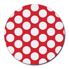 Red Polkadot 8  Mouse Pad (round)