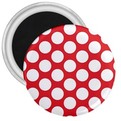 Red Polkadot 3  Button Magnet