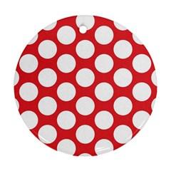 Red Polkadot Round Ornament