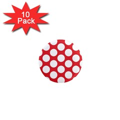 Red Polkadot 1  Mini Button Magnet (10 Pack)