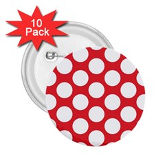 Red Polkadot 2.25  Button (10 pack)
