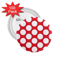 Red Polkadot 2.25  Button (100 pack)