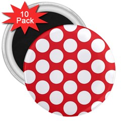 Red Polkadot 3  Button Magnet (10 pack)