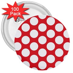 Red Polkadot 3  Button (100 pack)
