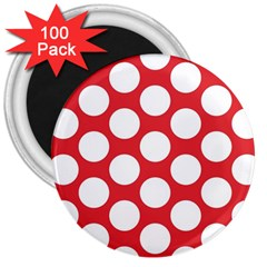 Red Polkadot 3  Button Magnet (100 pack)