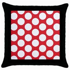 Red Polkadot Black Throw Pillow Case