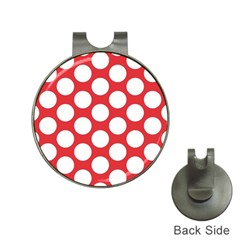 Red Polkadot Hat Clip with Golf Ball Marker
