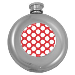 Red Polkadot Hip Flask (Round)