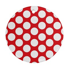 Red Polkadot Round Ornament (Two Sides)