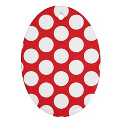 Red Polkadot Oval Ornament (Two Sides)