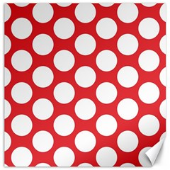 Red Polkadot Canvas 16  x 16  (Unframed)