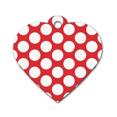 Red Polkadot Dog Tag Heart (One Sided)