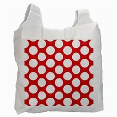 Red Polkadot White Reusable Bag (One Side)