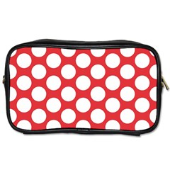 Red Polkadot Travel Toiletry Bag (Two Sides)