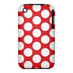 Red Polkadot Apple Iphone 3g/3gs Hardshell Case (pc+silicone)