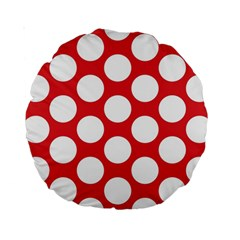 Red Polkadot 15  Premium Round Cushion