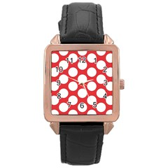 Red Polkadot Rose Gold Leather Watch