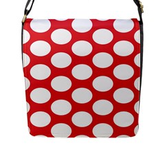 Red Polkadot Flap Closure Messenger Bag (Large)