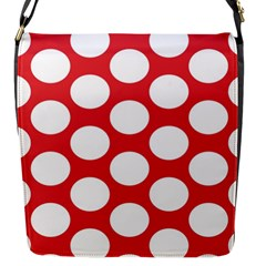 Red Polkadot Flap Closure Messenger Bag (Small)