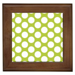 Spring Green Polkadot Framed Ceramic Tile